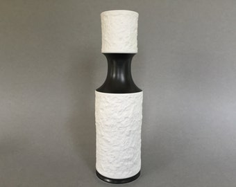 Royal KPM  634/1 medium size, porcelain  relief bisque vase with mat black Mid Century  1960s / 1970s Vintage Pop Art Design  W- Germany.