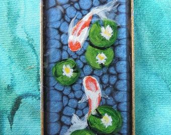 SALE! 30% off - Koi Pond Painting Pendant