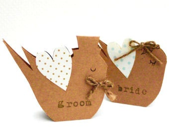 Wedding place name cards birds