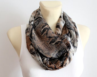 Snake Infinity Scarf Leopard Infinity Printed Infinity Unique Fabric Scarf Snake Loop Scarf Birthday Gift Summer Outdoors Summer Party