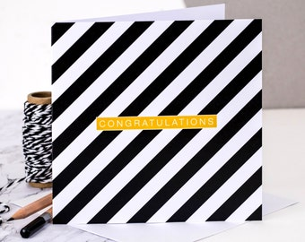 Congratulations Card; Black And White Card; Striped Card; Geometric Card; Congrats Card; GC179