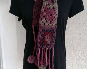 scarf plum and purple wool crochet with PomPoms
