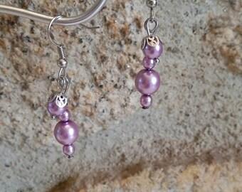 Purple earrings, earrings glass beads, romantic earrings, gifts for her