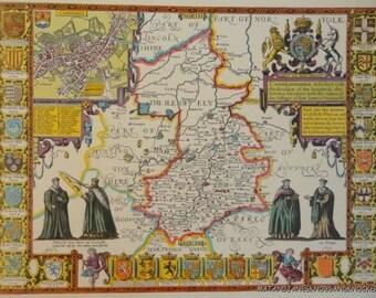 Old copy of John Speed map of Cambridgeshire, Cambridge, town plan