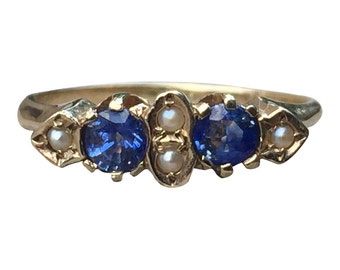 Vintage Engagement Ring   Sapphire Ring   Natural Sapphire   Seed Pearl   Yellow Gold