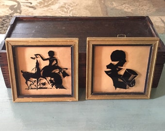 """1930s Deltex Framed Silhouettes with Reverse Loop for Hanging, """"Gallant"""" & """"Fawns"""""""