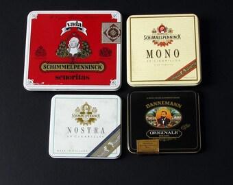 4 Piece Lot of Vintage Small Cigar Tins – Holland Brasil – Dannemann & Schimmelpenninck - Cigarillos - Storage Container - Craft Project
