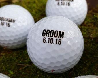 Groom, Bestman, Groomsman - SET of 6 Wedding Golf Balls