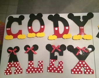 Mickey and Minnie Mouse Wooden letters