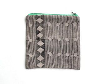 Block printed zip bag