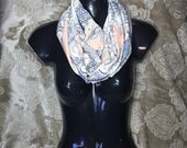 Peach Paisley Adult Infinity Scarf  Circle Scarf.