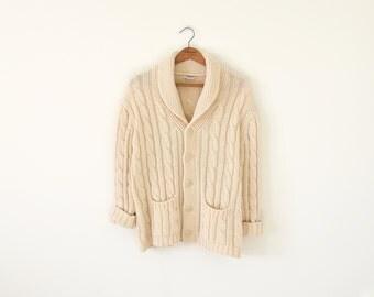 70s ivory cardigan / vintage sweater / unisex cardigan