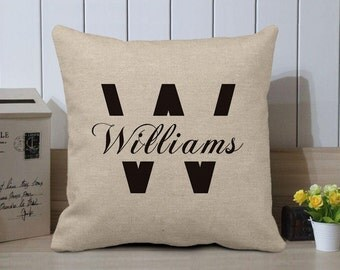 Last Name Pillow Cover, Personalized Pillow, Family Cushion Cover, Decorative Pillow, Burlap Pillow Case, Anniversary Gift, Engagement Gift