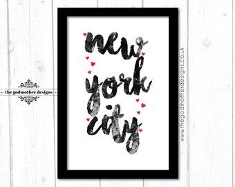 NYC - New York City - TYPOGRAPHY PRINT