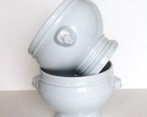 French soup bowls. Lion head soup bowls. White soup tureen. French soup tureen. Lions Head Bowl. Pillivuyt Soup Bowl. White porcelain.