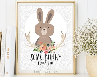 Some bunny loves you woodland nursery wall art print wall art decor bear illustration nursery decoration quotes printable valentines id114