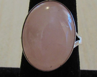 Sterling Silver and Rose Quartz Ring Size 6 3/4