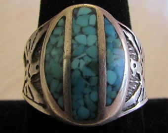 Sterling Silver and Turquoise Chip Inlay Ring.  Size 10