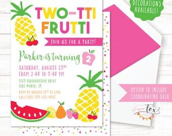 Two-tti Frutti Birthday Invitation / Twotti Frutti Party / Tutti Fruitti Party / Tutti Frutti Invitation / Second Birthday Invitation