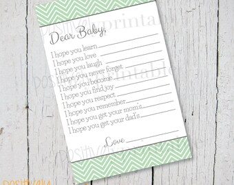 """Wishes and Hopes for Mint Green Chevron and Gray Baby Shower Game - Printable 4 1/4"""" x 8 1/2"""""""