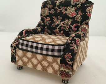 Dollhouse Miniature Upholstered Furniture: Handmade,  wingback chair.