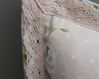 SALE Vintage Roses & Lace Oxford edge Throw pillow cover Cushion cover