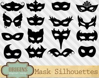 Mask Silhouettes, Venetian mask clipart, Mardi Gras clip art, Masquerade vectors, mask vectors, costume party png clipart instant download