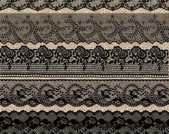 Black Lace Borders 2, Vintage Lace overlays clip art scrapbook embellishments, png lace png clipart digital instant download commercial use