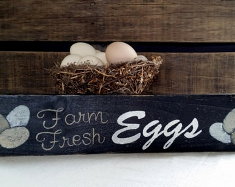 Farm Fresh Eggs, Country Chic, Egg Sign, Rustic, Chicken Coop Sign, Kitchen decor, Chicken Sign, Black, Gifts for her