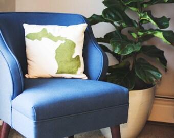 Michigan wool felt map pillow