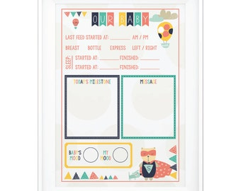 Baby Nursery feed/sleep tracker & message board print for the nursery. Reusable dry erase - write on the glass