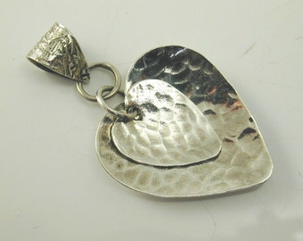 Silver double heart pendant hammered texture finish 3.5 grams sterling silver