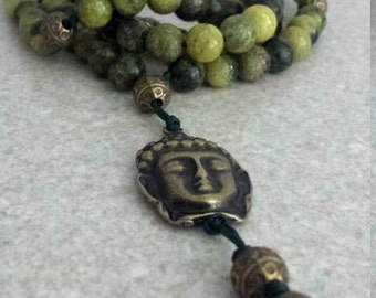 BOUDDHA Mala 108 beads - YELLOW TURQUOISE & antique bronze Bouddha