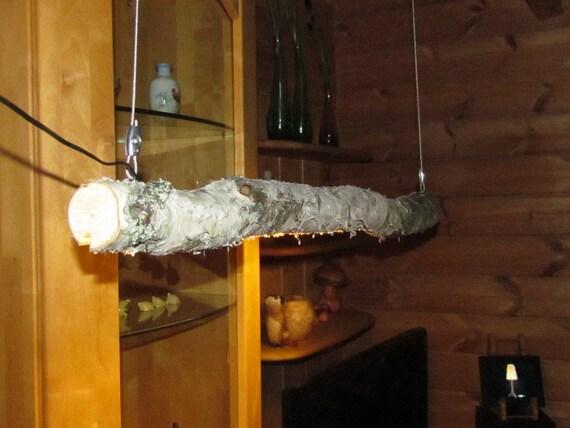 Lampada di legno - tronco di betulla con striscia luminosa a LED