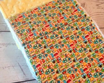 Baby Burp Cloths Owls with yellow minky,Handmade Owl Burp Cloths,Minky Burp Cloths,Burp Rags,Baby Gift