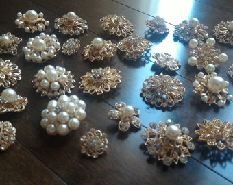 10 pcs Assorted New GOLD or SILVER Rhinestone Button Brooch Embellishment Pearl Crystal Button Wedding Brooch Bouquet Cake Hair Comb