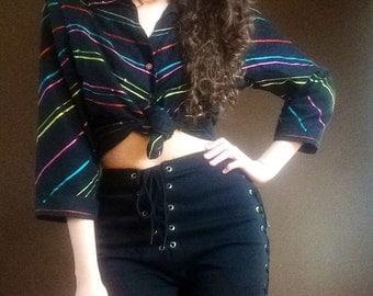 Rainbow Stripe Button Up Blouse