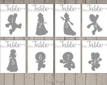 Super Mario Cards Silhouette (tabel number cards wedding) - set of 36 - Digital file
