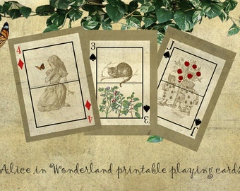 download printable Alice in Wonderland playing cards