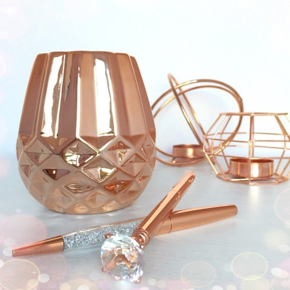 Rose gold pen pot for Decoration maison rose gold