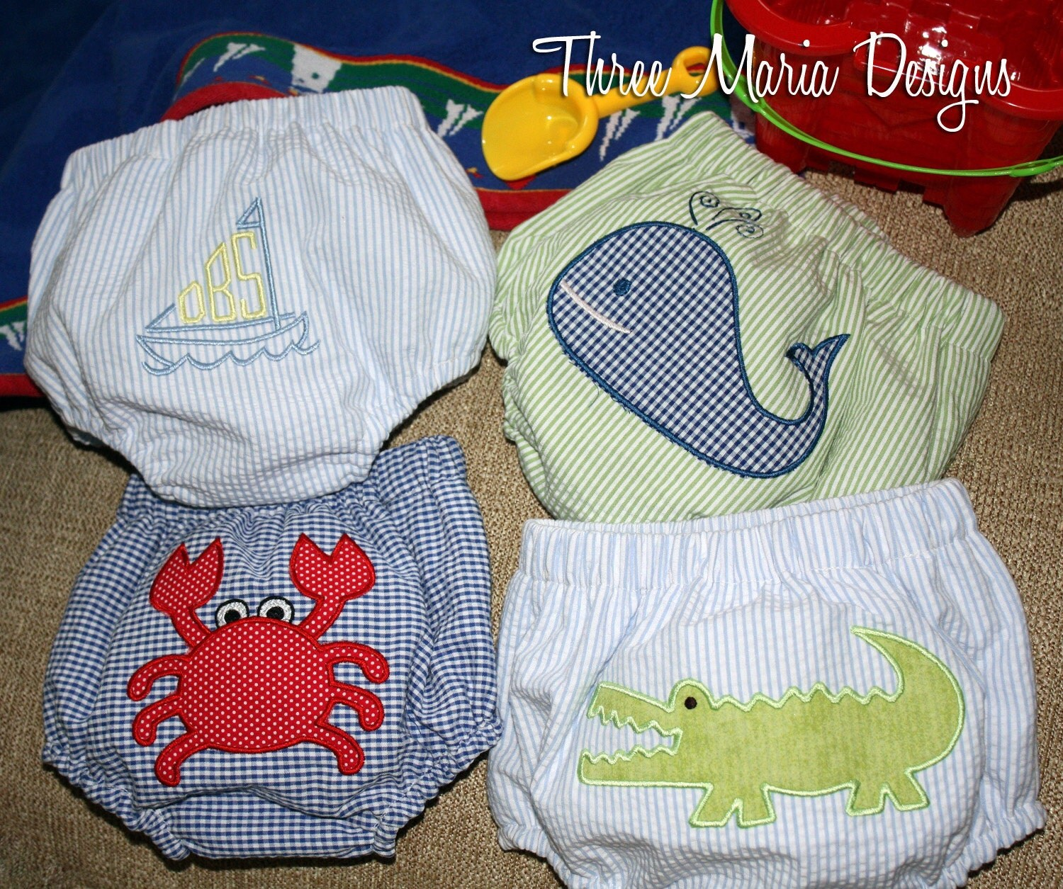 Waterproof Seersucker Swim Diaper Covers By Threemariadesigns