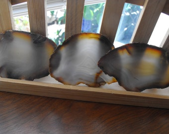 Three Brazilian Agate Slabs, Banded Agate Cabbing Rough