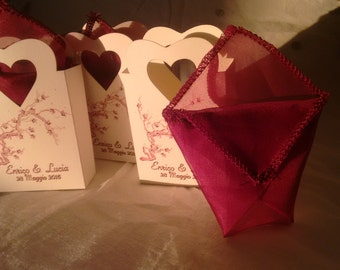 20 Bags for rice/candy  marriage made in cardboard ivory color and satin inner pouch
