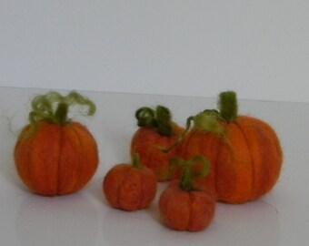 set of 5 mini wool needle felted pumpkins