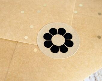 Hippie flower 34mm round brown kraft stickers 90pcs