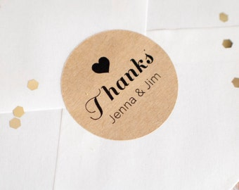 34mm brown kraft thank you stickers printing