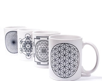 Sacred Geometry Mugs | Flower of Life, Metatron's Cube, Torus, Sri Yantra