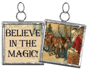 "Believe in the Magic #3 - Santa --- 2"" Reversible Framed Charm Ornament - Christmas"