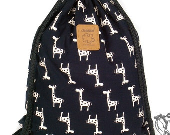 Giraffe Backpack Canvas Cotton drawstring Hip bag Handmade bag