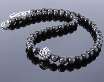 Men's Women Black Obsidian 925 Sterling Silver Necklace Dragon Bead Gemstone DiyNoion Handmade NK113